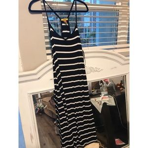 Black white striped ankle length dress
